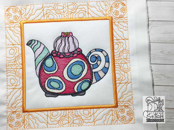 "Tea Kettle 2 Quilt Block-Fits a  5x5"", 6x6"", 7x7"", 8x8"" & 10x10""  Hoop - Machine Embroidery Designs"