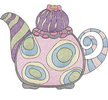 """Tea Kettle 2 (No Quilt Block Background) - Fits a 4x4"""", 5x7 & 8x8"""" Hoop - Machine Embroidery Designs"""