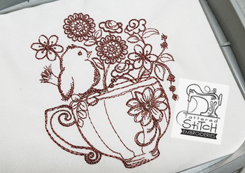 Finch Floral Teacup Redwork - Embroidery Designs