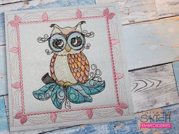 """Whimsical Owl Quilt Block #6 - Fits a  4x4"""", 5x5"""", 6x6"""", 7x7"""", 8x8"""" & 10x10""""  Hoop - Machine Embroidery Designs"""