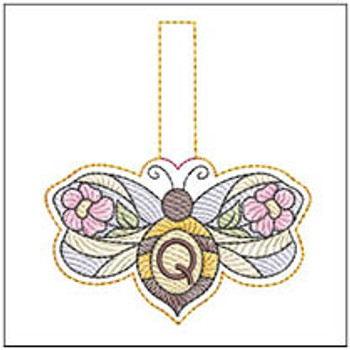 """Bee Charm ABCs - Q - Fits a 4x4"""" Hoop - Machine Embroidery Designs"""