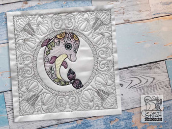 """Dolphin Quilt Block-Fits a  5x5"""", 6x6"""", 7x7"""", 8x8"""" & 10x10""""  Hoop - Machine Embroidery Designs"""