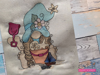 "Beach Gnome  -  Fits a 4x4, 5x7 & 6x10""  Hoop - Machine Embroidery Designs"