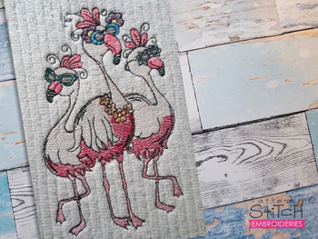 """3 Flamingos- Fits a 4x4"""", 5x7 & 6x10"""" Hoop - Machine Embroidery Designs"""