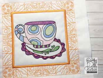 "Tea Cup 2 Quilt Block-Fits a  5x5"", 6x6"", 7x7"", 8x8"" & 10x10""  Hoop - Machine Embroidery Designs"