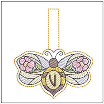 """Bee Charm ABCs - V - Fits a 4x4"""" Hoop - Machine Embroidery Designs"""