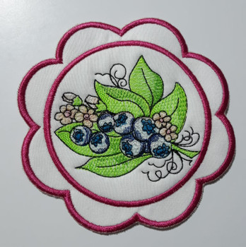 """Blueberries Coaster - Fits a 5x7""""  Hoop - Machine Embroidery Designs"""