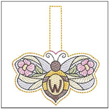 """Bee Charm ABCs - W - Fits a 4x4"""" Hoop - Machine Embroidery Designs"""