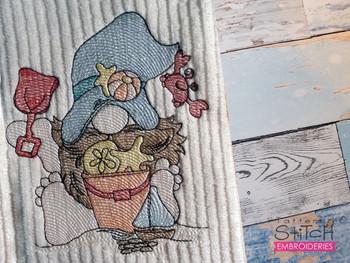 "Boy Beach Gnome  -  Fits a 4x4, 5x7 & 6x10""  Hoop - Machine Embroidery Designs"