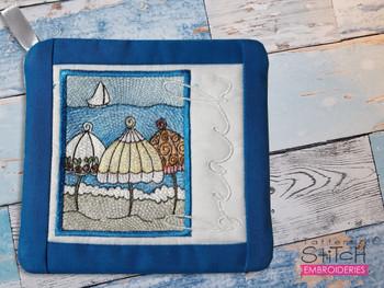 "Beach Umbrella - Pot Holder- Fits a 6x6 & 8x8"" Hoop - Machine Embroidery Designs"