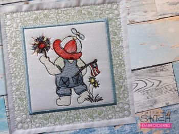 "Sunbonnet Sam Quilt Block 2 -  Fits a  5x5"", 6x6"", 7x7"", 8x8"" & 10x10""  Hoop - Machine Embroidery Designs"
