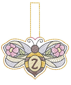"""Bee Charm ABCs - Z - Fits a 4x4"""" Hoop - Machine Embroidery Designs"""