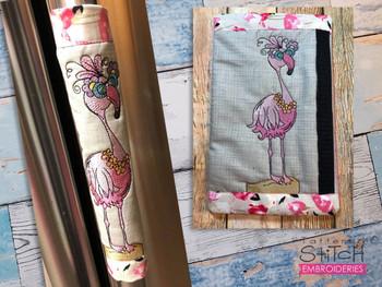 """Pink Flamingo Fridge Door Handle Wrap -  Fits a  6x10"""", 8x12""""""""  Hoop - Machine Embroidery Designs"""