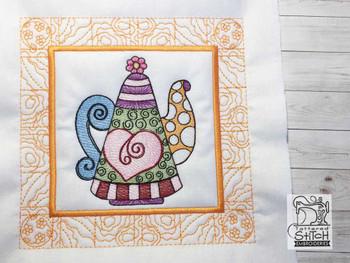 "Tea Kettle 3 Quilt Block-Fits a  5x5"", 6x6"", 7x7"", 8x8"" & 10x10""  Hoop - Machine Embroidery Designs"