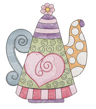"""Tea Kettle 3 (No Quilt Block Background) - Fits a 4x4"""", 5x7 & 8x8"""" Hoop - Machine Embroidery Designs"""