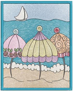 "Umbrella Label Applique  Fits a 4x4, 5x7 & 6x10"" Hoop - Machine Embroidery Designs"