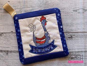 """Rooster - Pot Holder- Fits a 6x6 & 8x8"""" Hoop - Machine Embroidery Designs"""