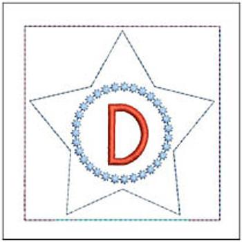 "Patriotic Sachet ABCs - D -  Fits a 4x4"" Hoop - Machine Embroidery Designs"