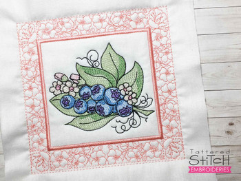 """Blueberries Quilt Block-Fits a  5x5"""", 6x6"""", 7x7"""", 8x8"""" & 10x10""""  Hoop - Machine Embroidery Designs"""