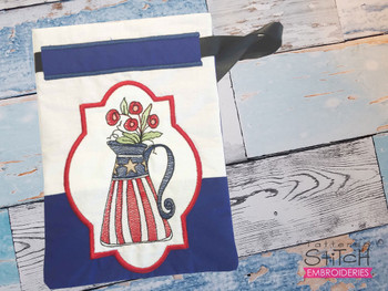 """Americana Vase Gift Bag- Fits a 5x7"""" and 6x10""""  Hoop - Machine Embroidery Designs"""