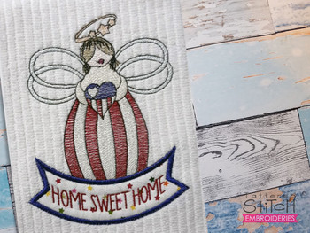 """Home Sweet Home Angel - Fits a 4x4, 5x7 & 6x10"""" Hoop - Machine Embroidery Designs"""