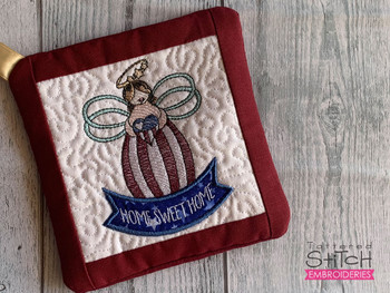 """Home Sweet Home Angel - Pot Holder- Fits a 6x6 & 8x8"""" Hoop - Machine Embroidery Designs"""