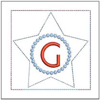 "Patriotic Sachet ABCs - G -  Fits a 4x4"" Hoop - Machine Embroidery Designs"