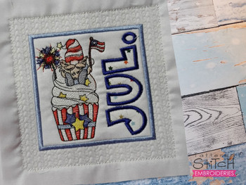 """July Gnome Quilt Block  -  Fits a   6x6"""", 7x7"""", 8x8"""" & 10x10""""  Hoop - Machine Embroidery Designs"""