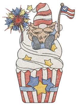 """July 4th Gnome  -  Fits a 4x4, 5x7 & 6x10""""  Hoop - Machine Embroidery Designs"""