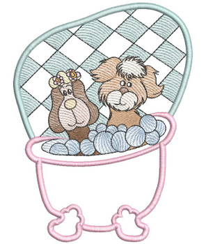 """Pups in Tub Label/Applique - Fits a 5x7 & 6x10"""" Hoop - Machine Embroidery Designs"""