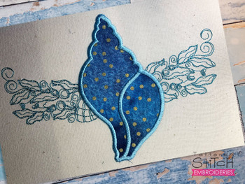 """Conch Shell Applique - Fits a 5x7, 6x10, and 8x12"""" Hoop - Embroidery Designs"""