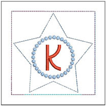 "Patriotic Sachet ABCs - K -  Fits a 4x4"" Hoop - Machine Embroidery Designs"