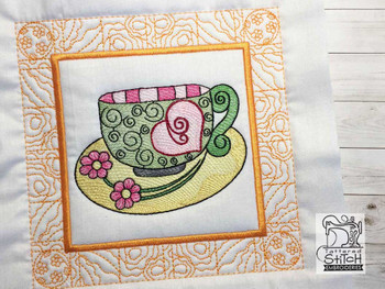 "Tea Cup 3 Quilt Block-Fits a  5x5"", 6x6"", 7x7"", 8x8"" & 10x10""  Hoop - Machine Embroidery Designs"