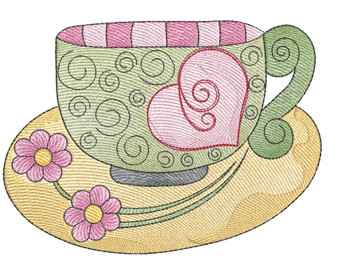 """Tea Cup 3 (No Quilt Block Background) - Fits a 4x4"""", 5x7 & 8x8"""" Hoop - Machine Embroidery Designs"""