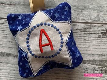 "Patriotic Sachet ABCs - L -  Fits a 4x4"" Hoop - Machine Embroidery Designs"