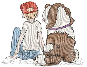 "Boy & Dog - Fits a  4x4"", 5x7"" & 8x8"" Hoop - Machine Embroidery Designs"