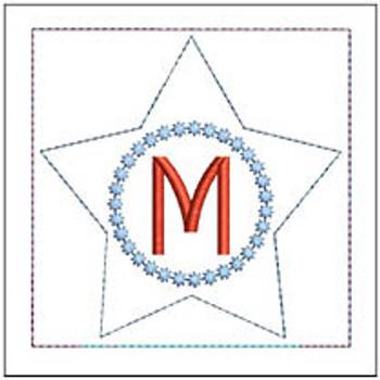 "Patriotic Sachet ABCs - M -  Fits a 4x4"" Hoop - Machine Embroidery Designs"