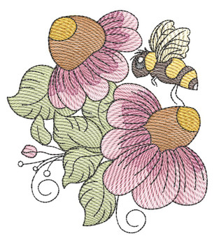 """Cone Flower Cluster (Flowers Only - NO Background) -  Fits a 4x4"""" and 5x7"""" Hoop - Machine Embroidery Designs"""