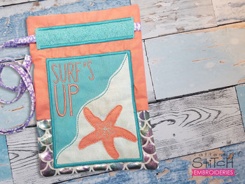 """'Surfs Up' Beach Gift Bag- Fits a 5x7"""" and 6x10""""  Hoop - Machine Embroidery Designs"""