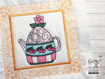 "Tea Kettle 4 Quilt Block - Fits a  5x5"", 6x6"", 7x7"", 8x8"" & 10x10""  Hoop - Machine Embroidery Designs"