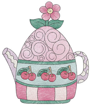 """Tea Kettle 4 (No Quilt Block Background) - Fits a 4x4"""", 5x7 & 8x8"""" Hoop - Machine Embroidery Designs"""