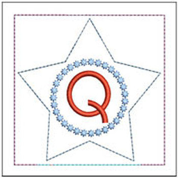 "Patriotic Sachet ABCs - Q -  Fits a 4x4"" Hoop - Machine Embroidery Designs"