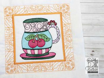 "Tea Cup 4 Quilt Block - Fits a  5x5"", 6x6"", 7x7"", 8x8"" & 10x10""  Hoop - Machine Embroidery Designs"