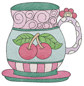 """Tea Cup 4 (No Quilt Block Background) - Fits a 4x4"""", 5x7 & 8x8"""" Hoop - Machine Embroidery Designs"""
