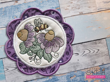 """Cone Flowers Coaster - Fits a 5x7""""  Hoop - Machine Embroidery Designs"""