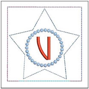 "Patriotic Sachet ABCs - V -  Fits a 4x4"" Hoop - Machine Embroidery Designs"