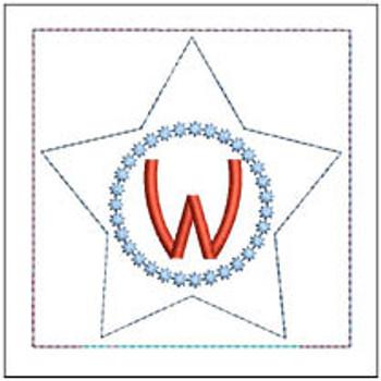 "Patriotic Sachet ABCs - W -  Fits a 4x4"" Hoop - Machine Embroidery Designs"