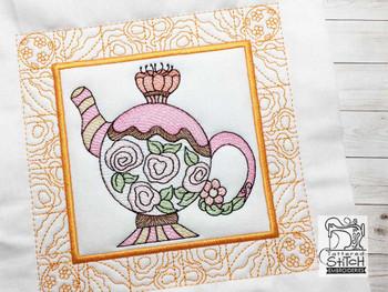 "Tea Kettle 5 Quilt Block - Fits a  5x5"", 6x6"", 7x7"", 8x8"" & 10x10""  Hoop - Machine Embroidery Designs"