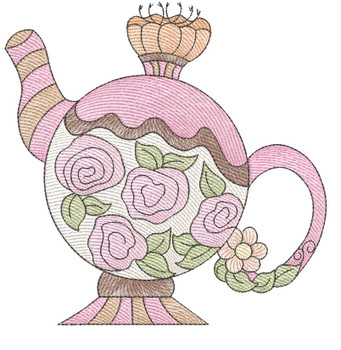 """Tea Kettle 5 (No Quilt Block Background) - Fits a 4x4"""", 5x7 & 8x8"""" Hoop - Machine Embroidery Designs"""