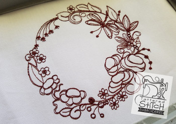 Decorative Dragonfly Floral Wreath - Embroidery Designs